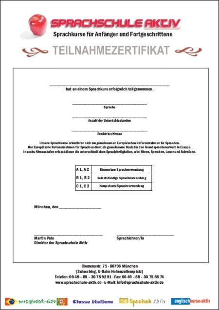 Sprachschule-Aktiv Teilnahmezertifikat
